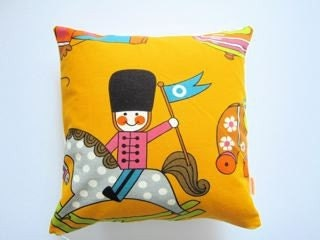 Vintage  children's fabric cushion pillow cover juvenile 60s 70s