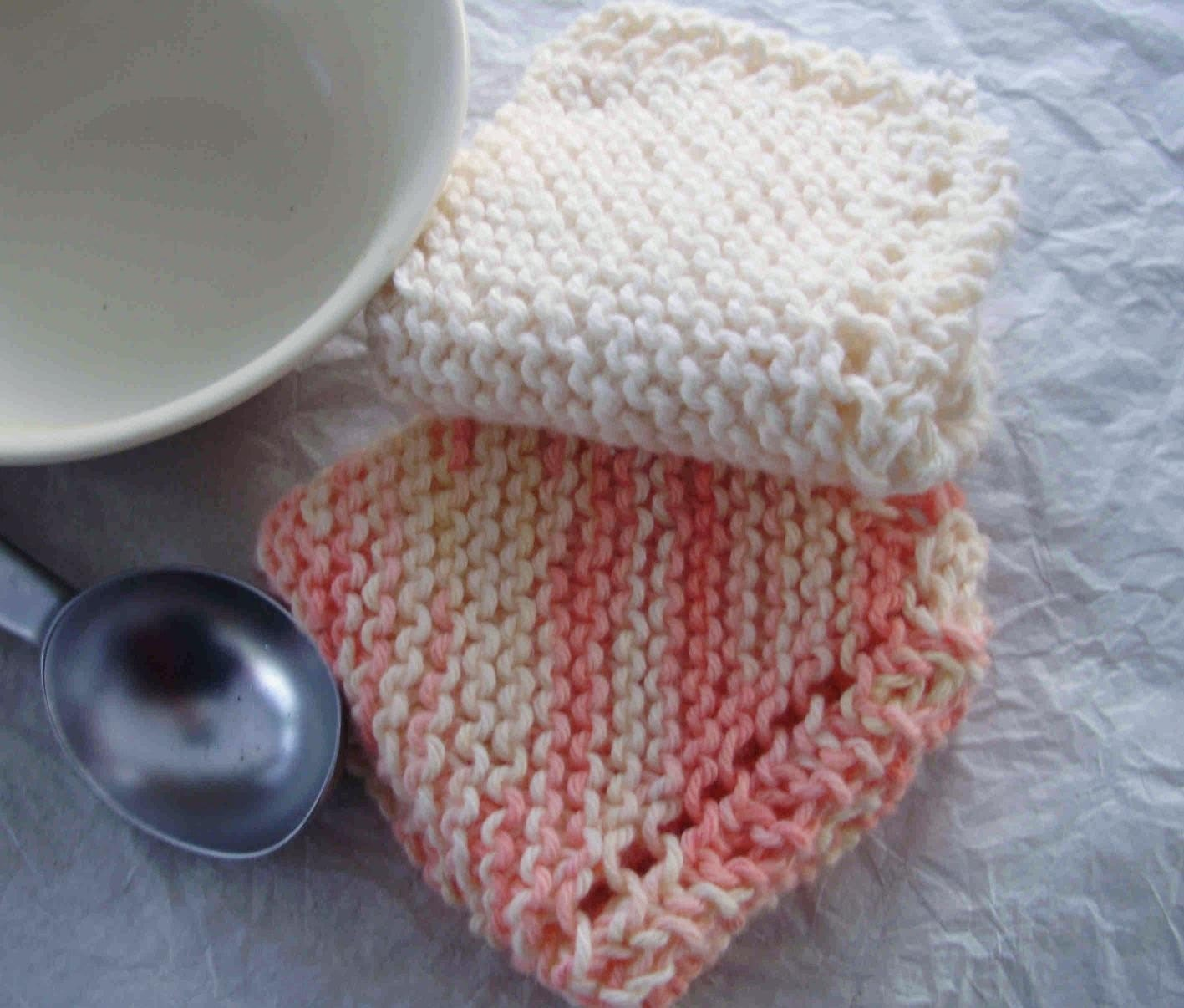 Peaches and Ice Cream Dishcloths- Set of 2 Knitted