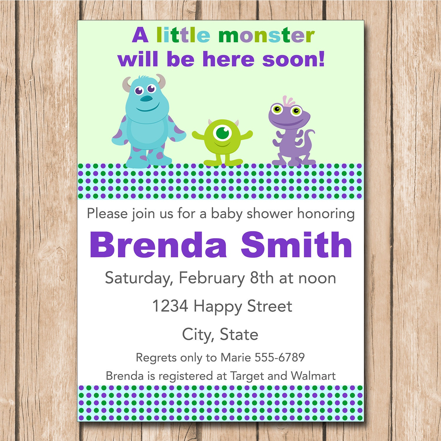 mini monsters inc baby shower invitation boy or girl neutral 1