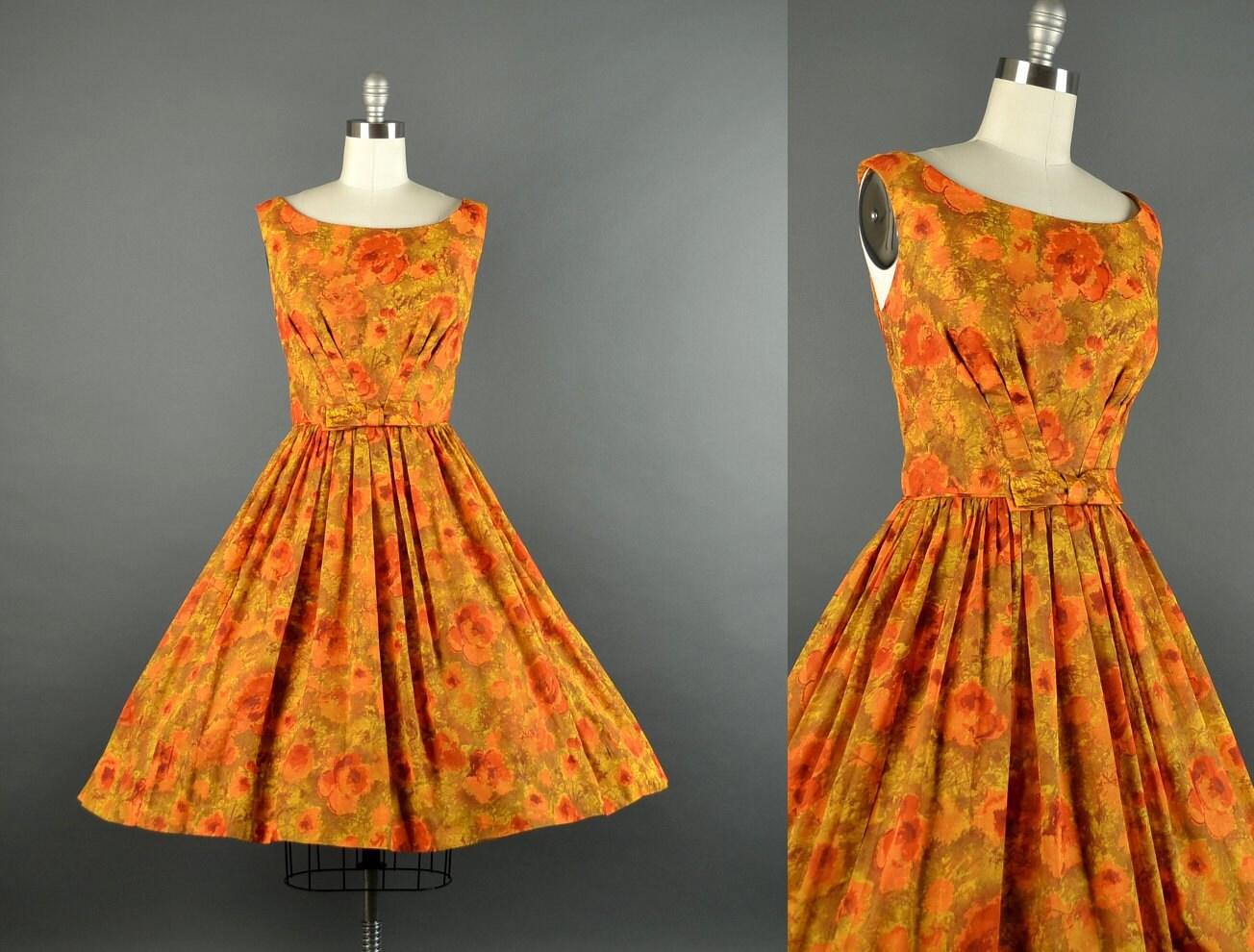 1950s autumn bloom dress / floral full skirt dress / 50s dress / cotton dress