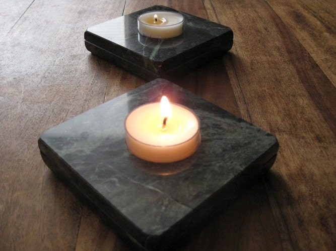 green marble tealight holders