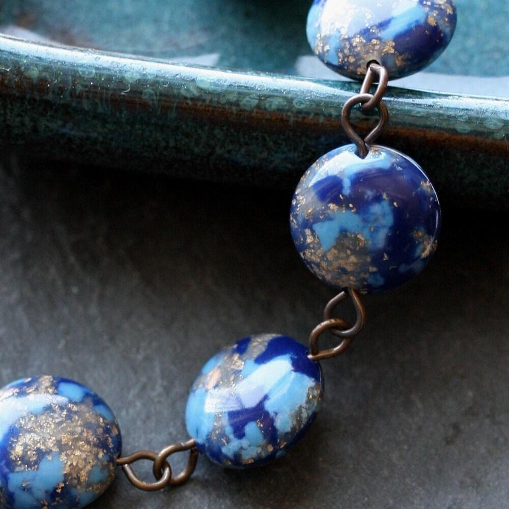 Luminous Night Bracelet - Vintage Lucite and Antiqued Brass