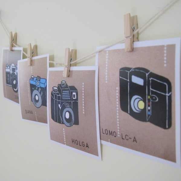 Lomography Cameras Art Prints Set of 4 Wall Decor 4 x 4 Holga Diana Zenit Lomo LCA