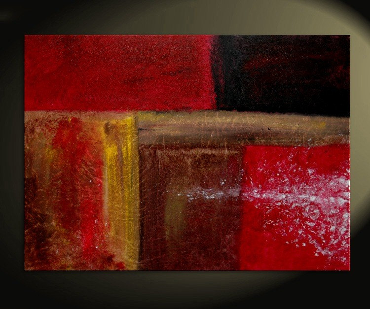 40x30 CUSTOM Bold Red Modern Abstract Painting Urban Original Art on Stretched Canvas