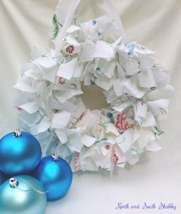 Shabby White Rag Wreath Wall Decor, Table Centerpiece, Home Decor, Holiday Decor - northandsouthshabby
