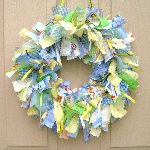 Newborn baby boy fabric wreath nursery decor new by for Baby boy hospital door decoration