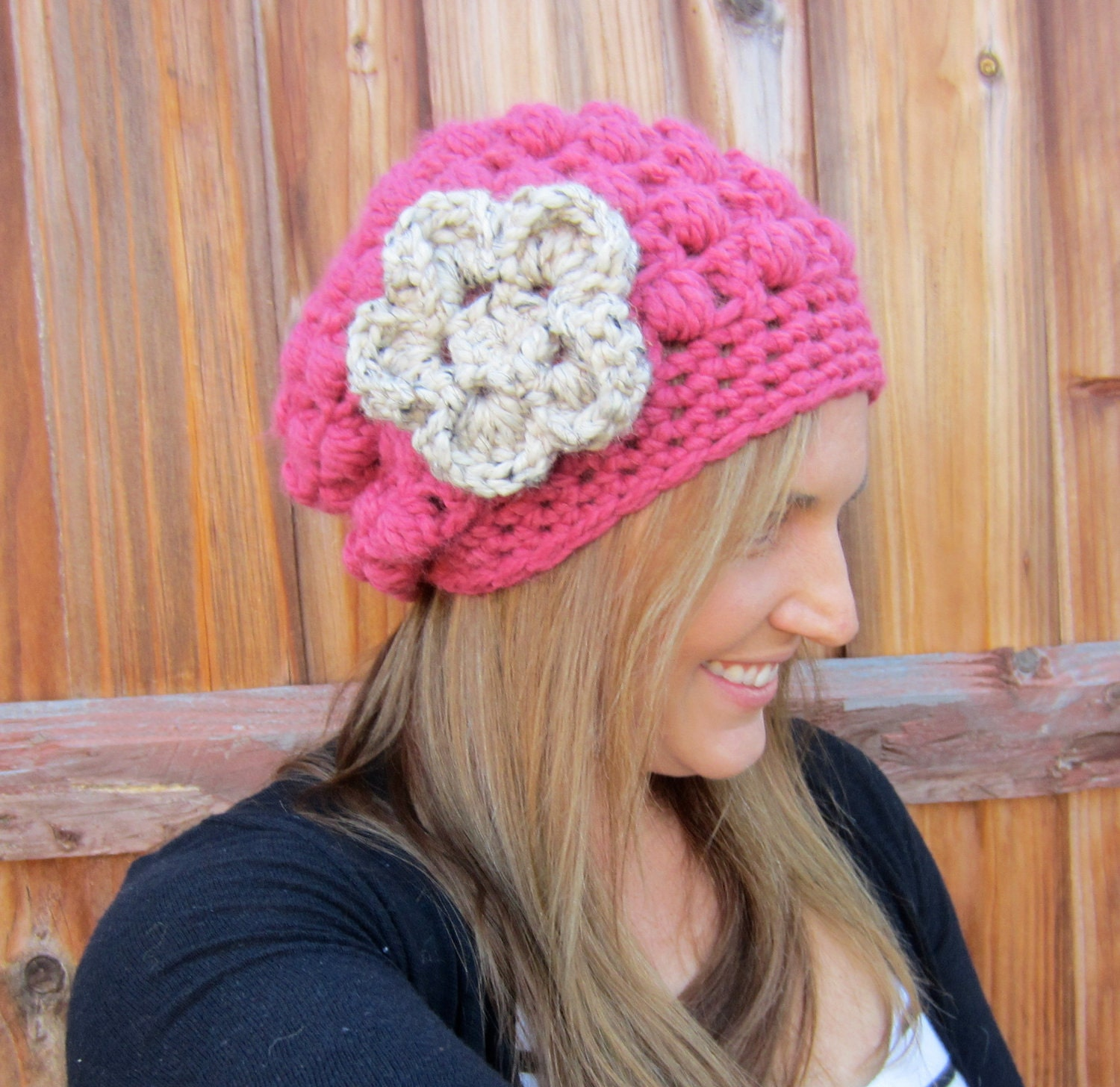 The Michelle -Crochet Womens Slouch Hat, crochet beanie, fall fashion,  - CHOOSE your color -with detachable flower - FREE SHIPPING