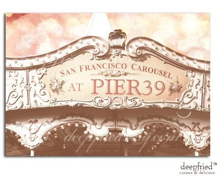 San  Francisco Pier 39 Venetian Carousel Flat Cards in  Cotton Candy Pink
