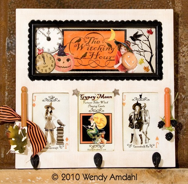 Vintage Halloween Themed OOAK Original Mixed Media Art Board, The Witching Hour