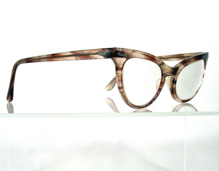 Vintage 1960s SHURON Brown Swirl Retro Cat Eye Eyeglass Frames