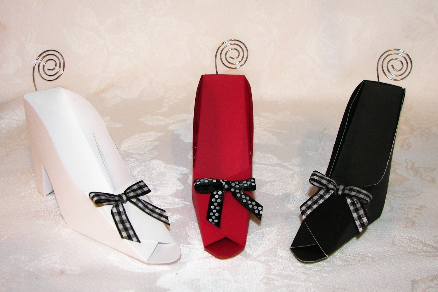 Paper Shoe Place Card Holders Set of 3 Your choice of colors