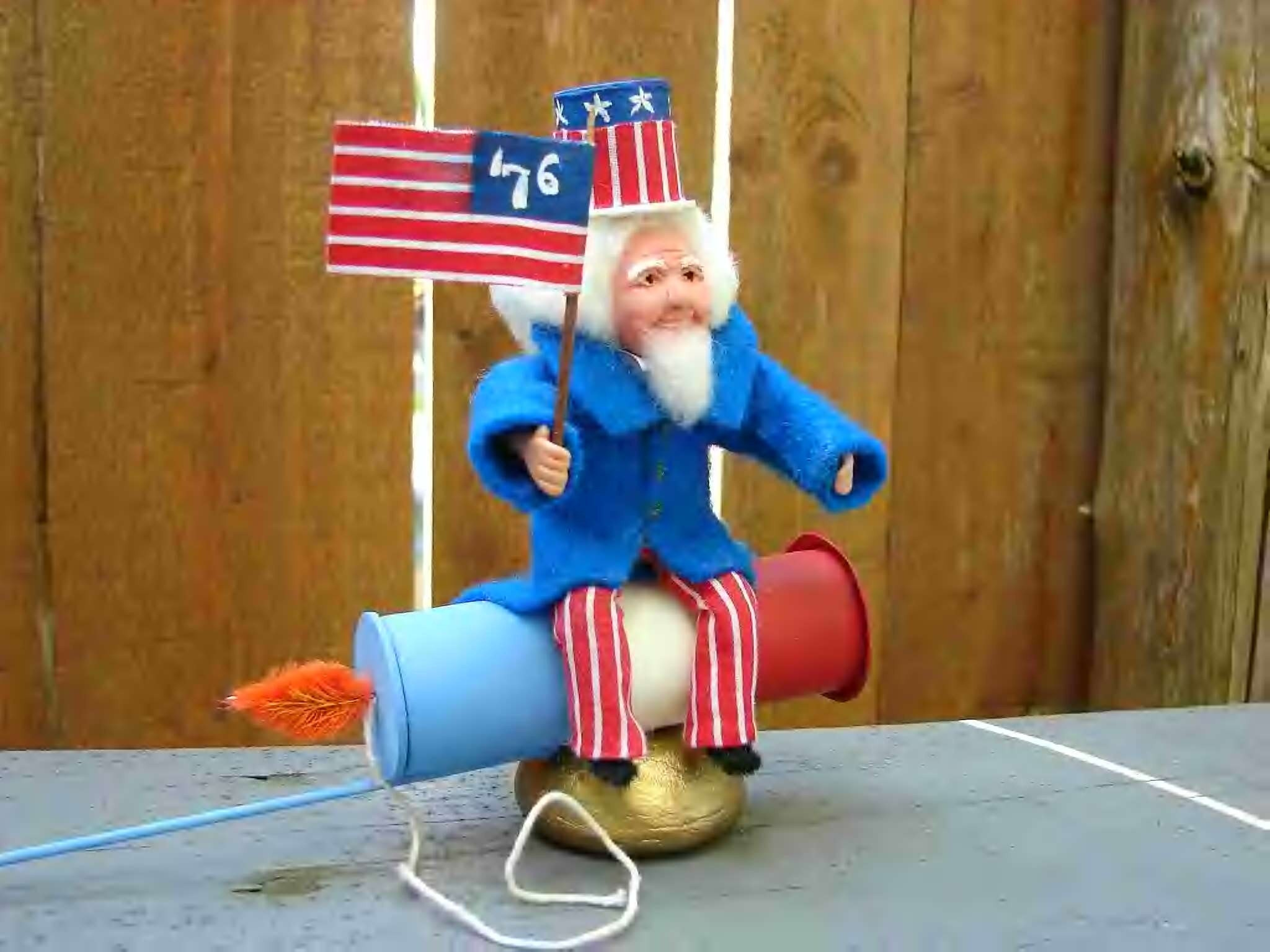 Uncle Sam Fireworks Rocket Candy Container July 4th - saintNICHOLAStoo