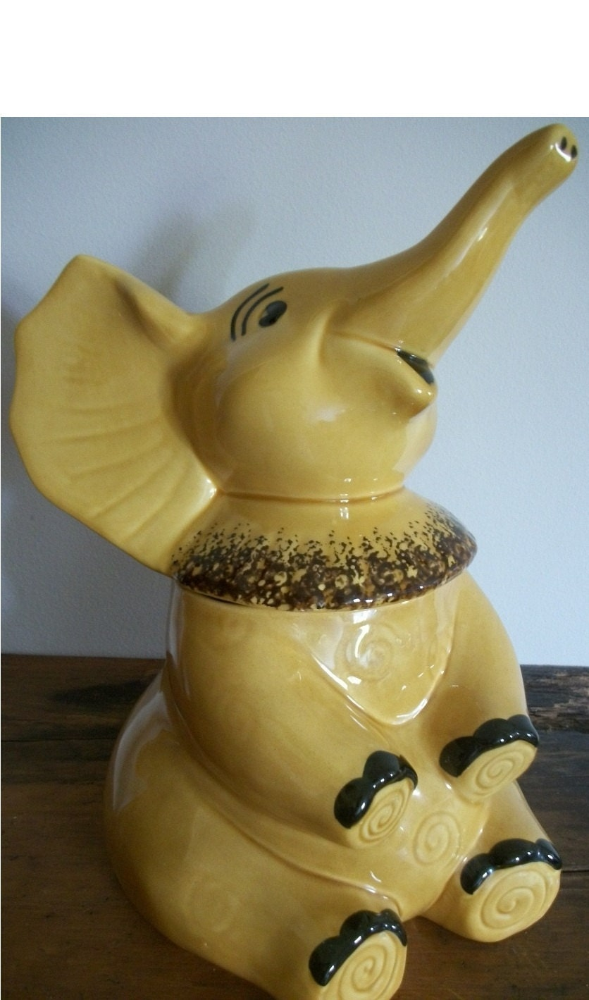 Dorraine elephant cookie jar by junkydory on etsy - Vintage elephant cookie jar ...