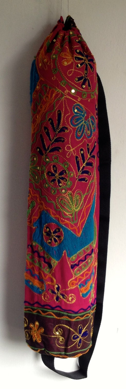 Yoga Mat Bag Pilates Mat Bag handmade Indian Elephant Bespoke Pink Orange free UK delivery G2