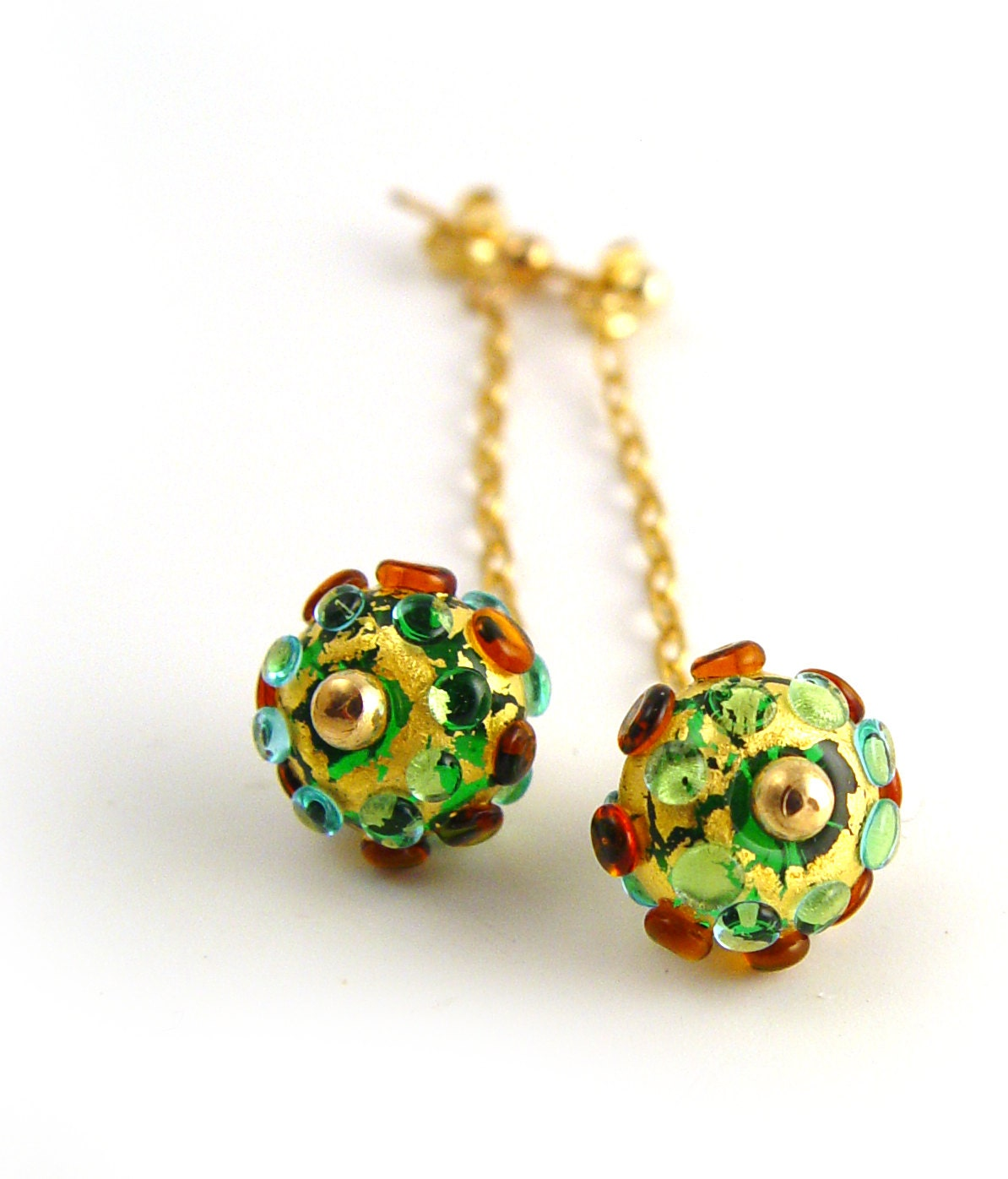 Lampwork Emerald Green Turquoise Amber and Gold Earrings