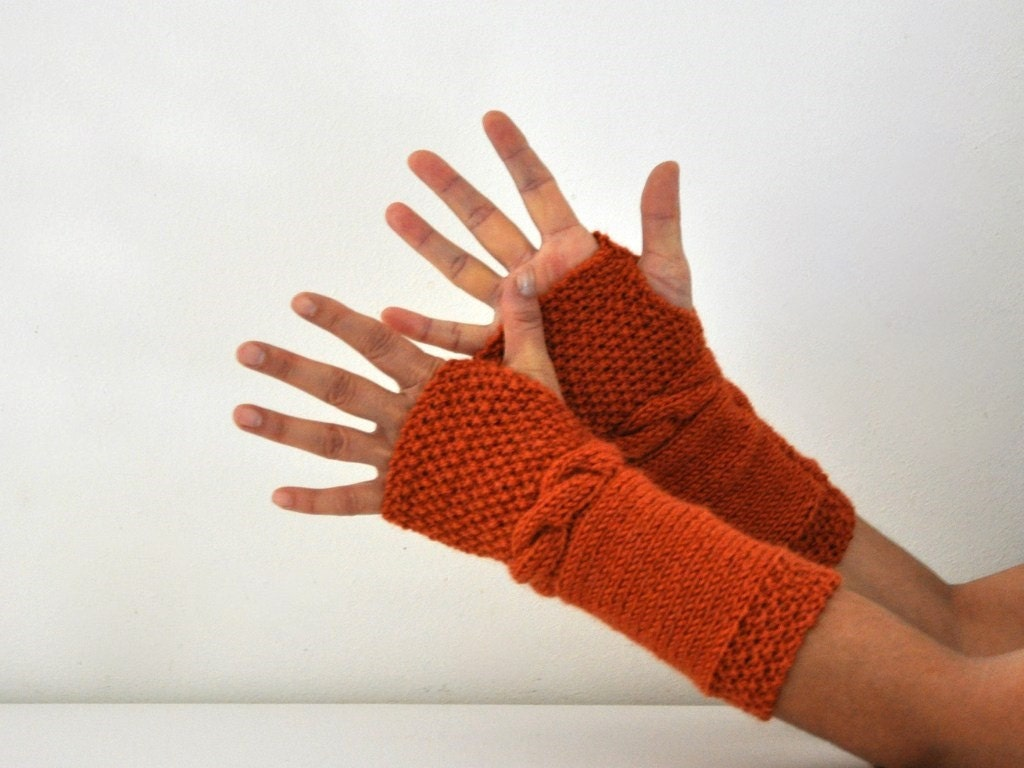 Wool Fingerless Gloves Armwarmers Burnt Orange Brick Hand Knit Chic Winter Accessories Winter Fashion