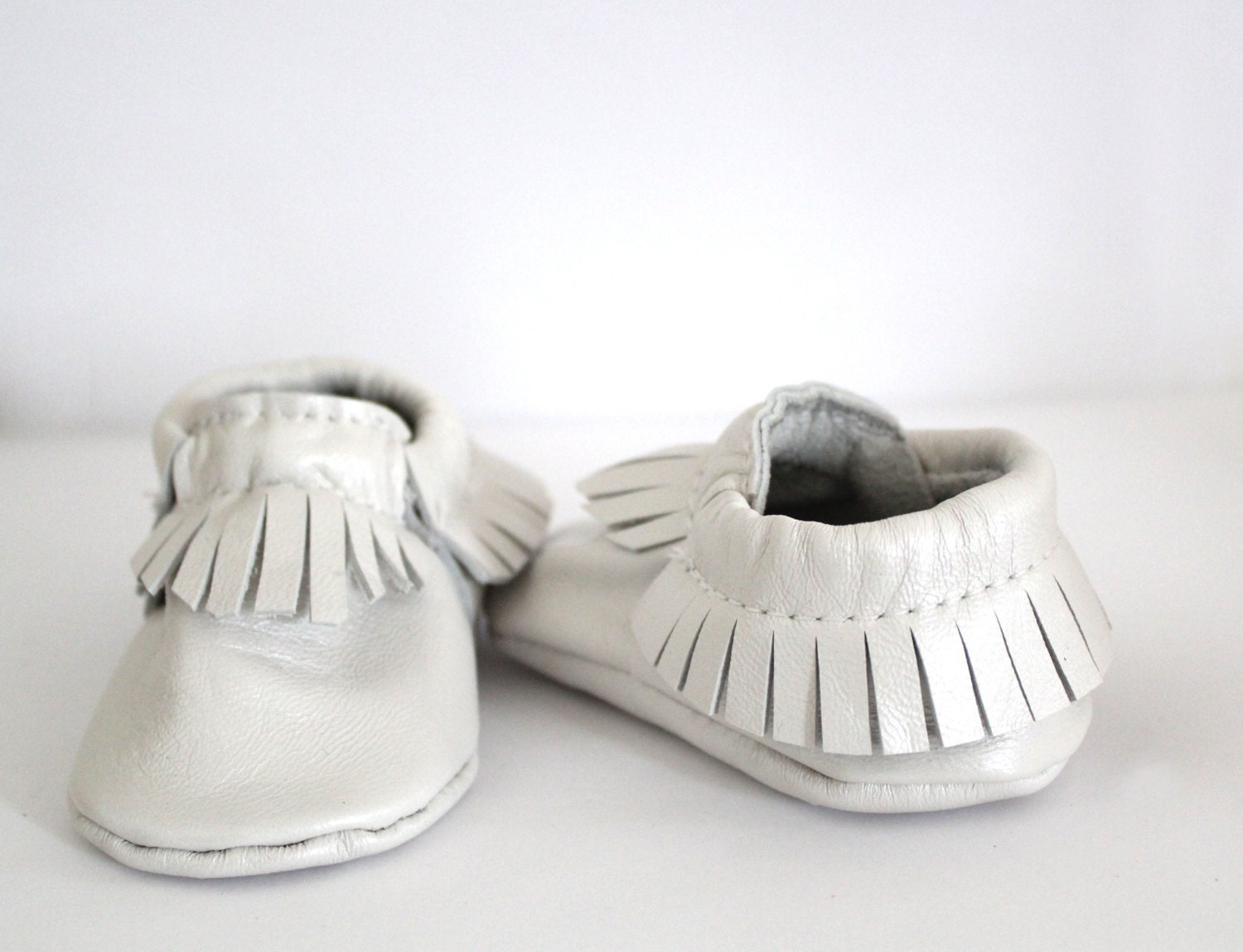 Pearl white leather baby moccasins