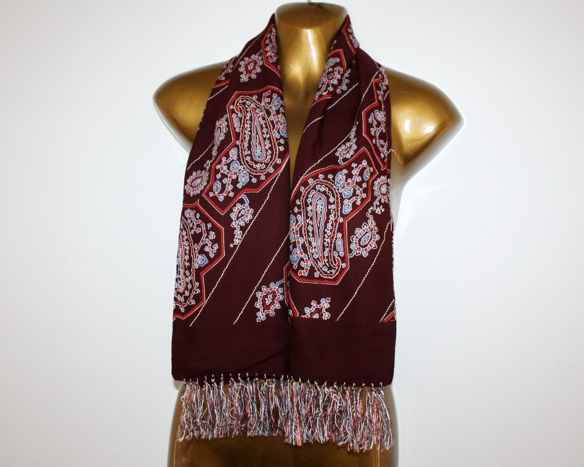 Vintage Mens Paisley Opera Neck Scarf Wool Silk Silk Neck Scarves Men