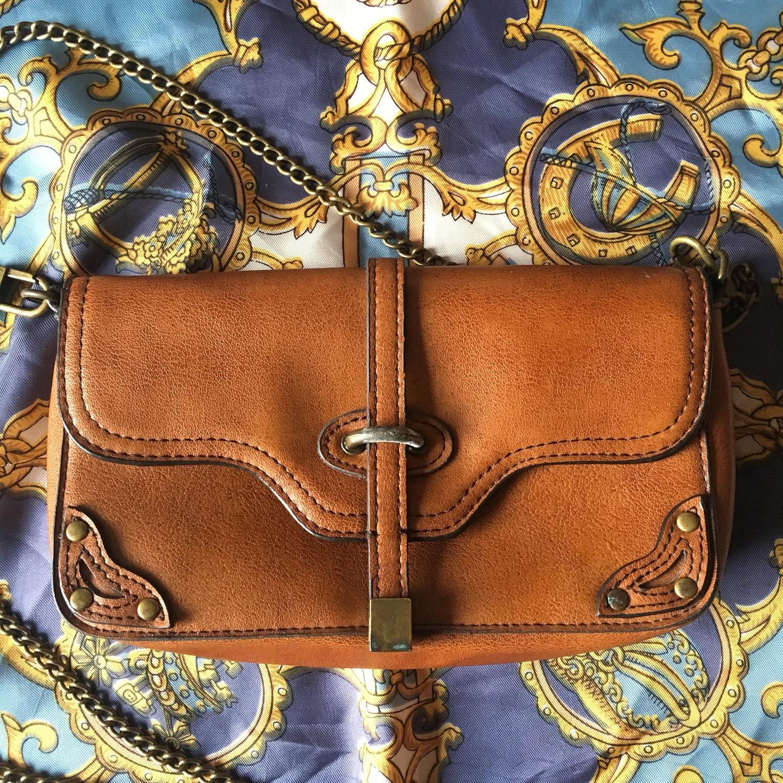 Next Vintage Style Small Tan Handbag Leather Look Cross Body Shoulder Bag Metal Details