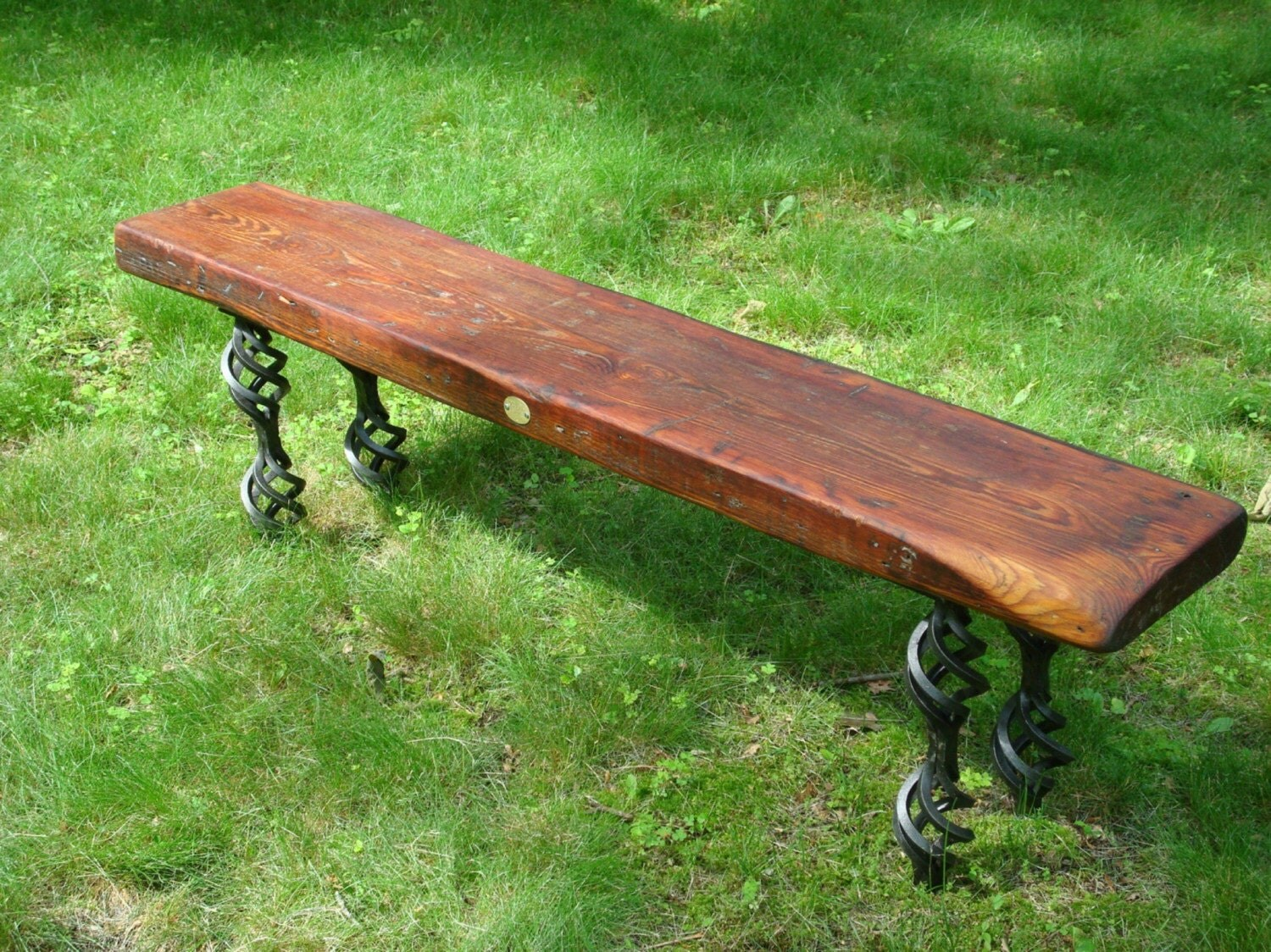 Reclaimed wood bench/coffee table with steel base and legs (tag 1)