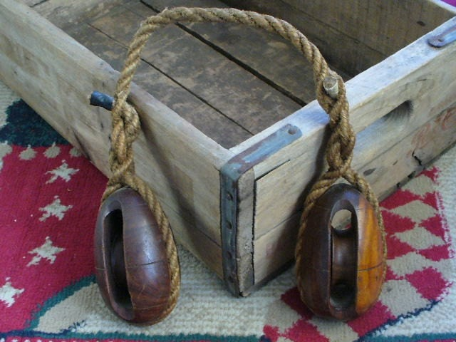 Pulleys And Blocks For Sale : Treasury item antique wood pulley s block by