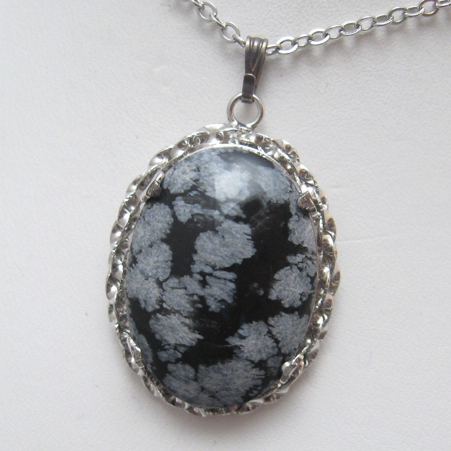 Vintage Sterling Necklace Snowflake Obsidian N1606