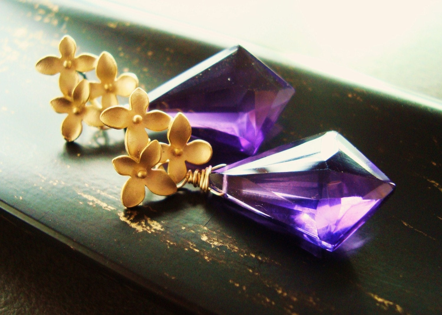 PURPLE PASSION- Dramatic Amethyst Gemstone with Gold Plated Flower Posts