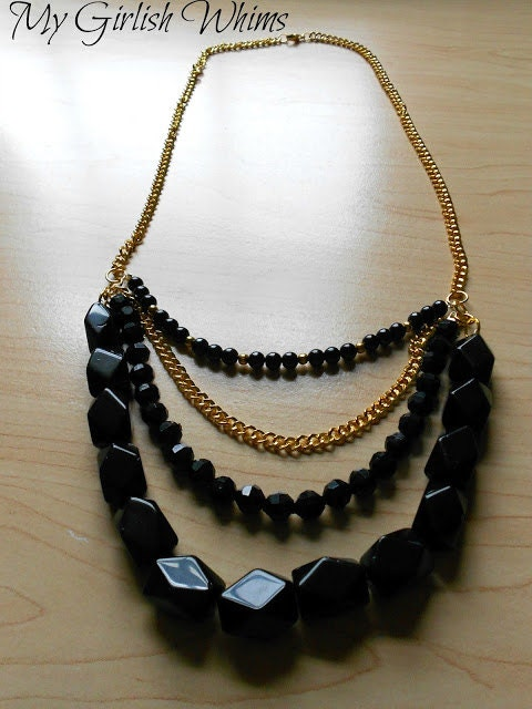 Black and Gold Chain Bib Necklace