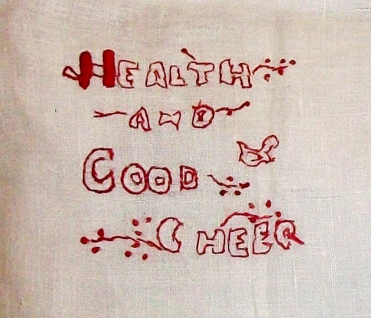 VINTAGE Embroidered PILLOW Cover -Large Redwork Linen Case, Redwork Sentiment, Bird, FARMHOUSE Decor - misswillies