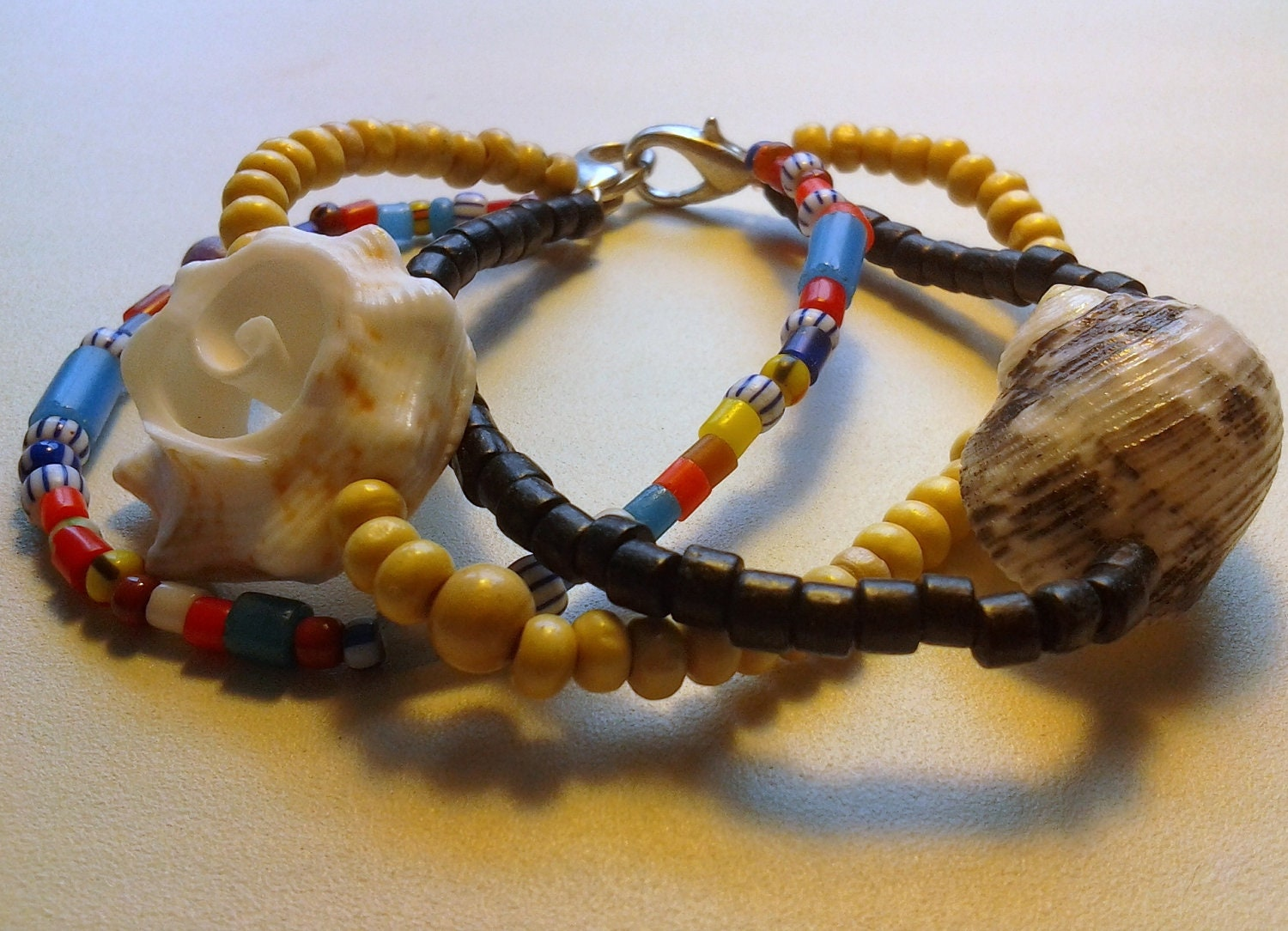 Seashells, Glass and Wood Beads Triple bracelete - Surfer girl, beach, colorful, delicate, - RumCay