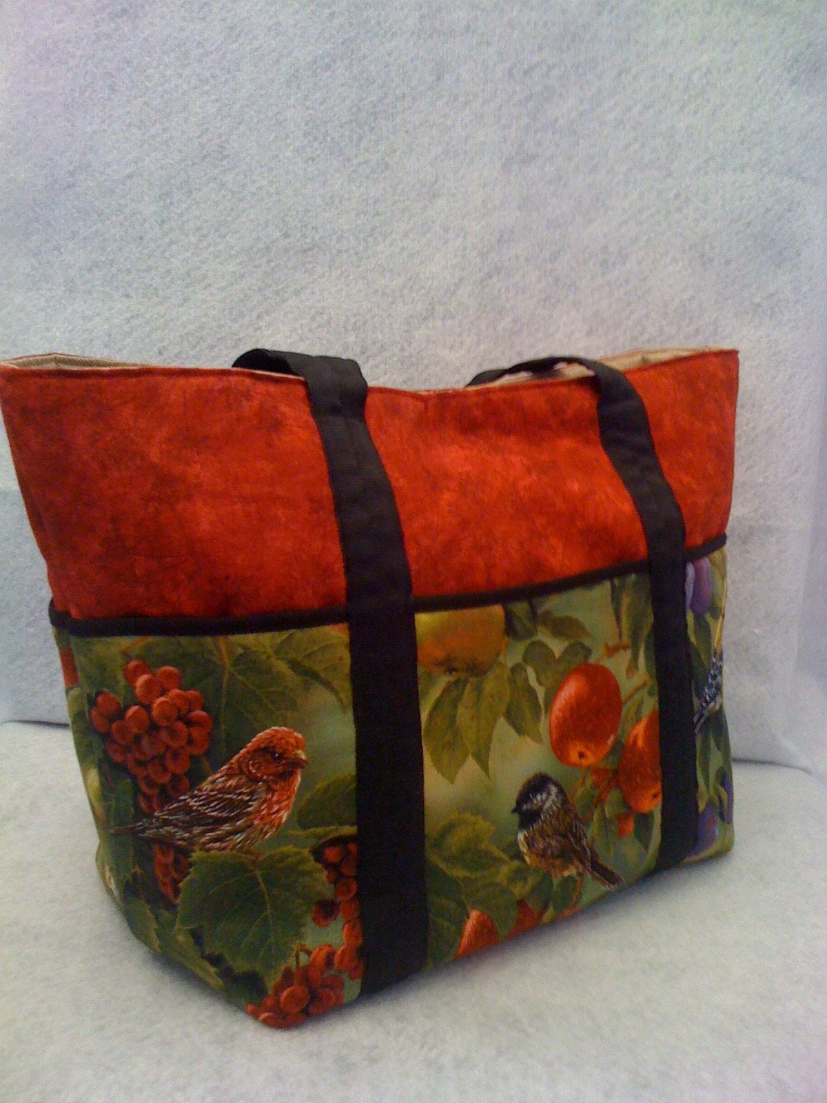 Tote Handbag with Finches in Vibrant Colors