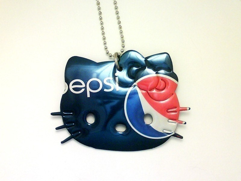 PEPSI COLA HELLO KITTY NECKLACE Funky Junq Recycled Aluminum Soda Pop Can Art