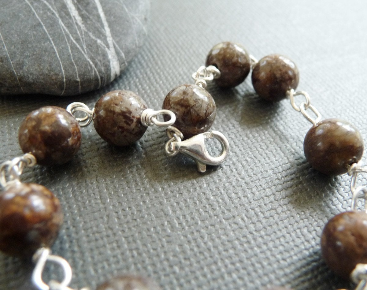 Warm Brown Sand Sterling Silver Bracelet or Anklet