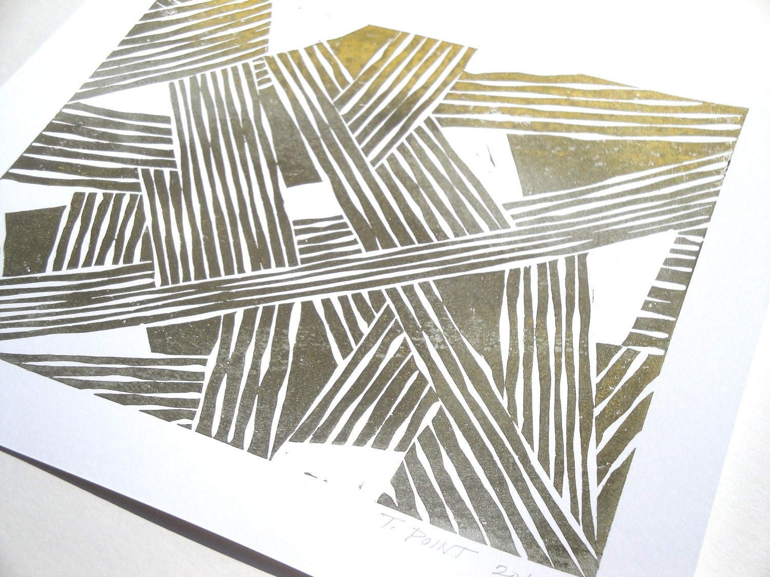 Brown and Gold Abstract and Modern Block Print