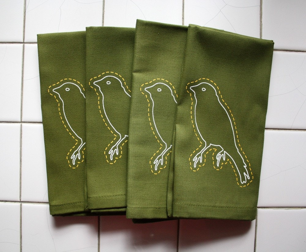 four canary napkins, olive