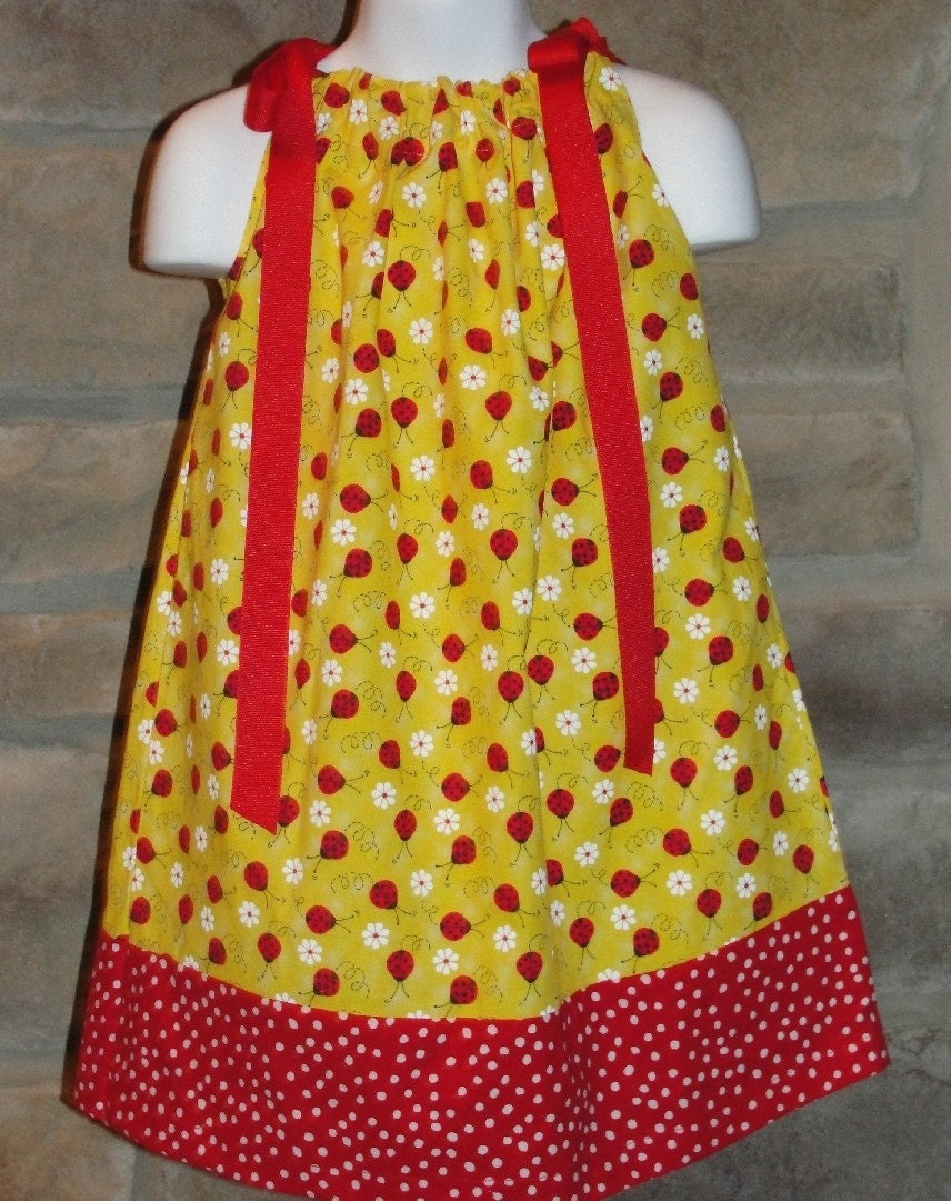 Pillowcase Dress Ladybug, Red, Yellow (3mo, 6mo,12mo,18mo, 2T, 3T, 4T)