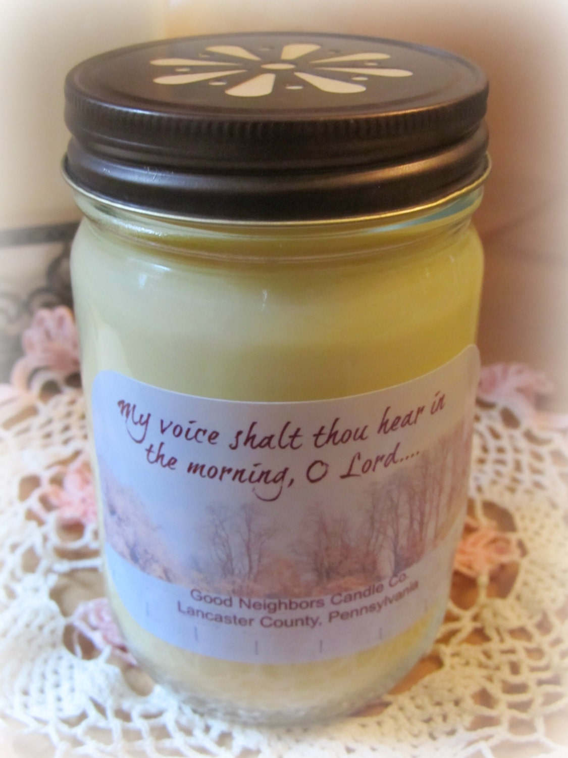 Soy Candle, Devotional Candle, Scripture Candle, Your choice of Fragrance, Color and Wick type