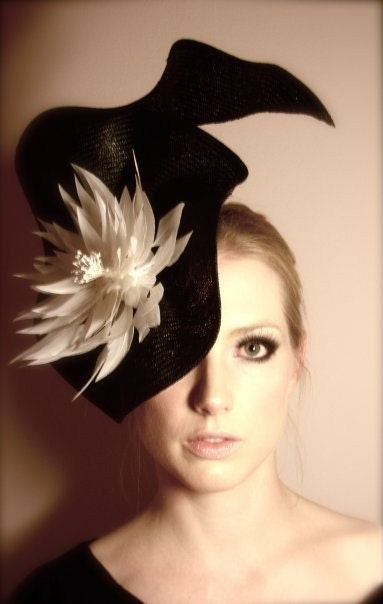 Gorgeous and striking black and white headpiece/hat
