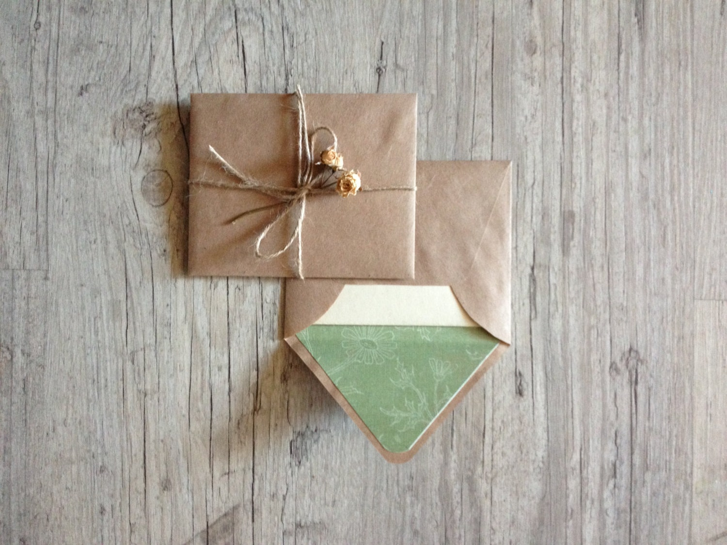 Crafted writing set - letter writing paper - brown envelope with vintage paper - beige light green pastel rustic - europeanstreetteam - InghettaDesign