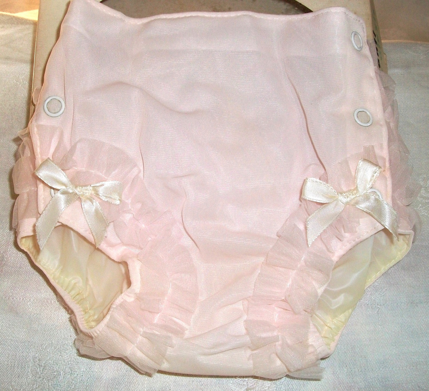 Vintage Pink Ruffled Baby Plastic Lined Panties Sz By