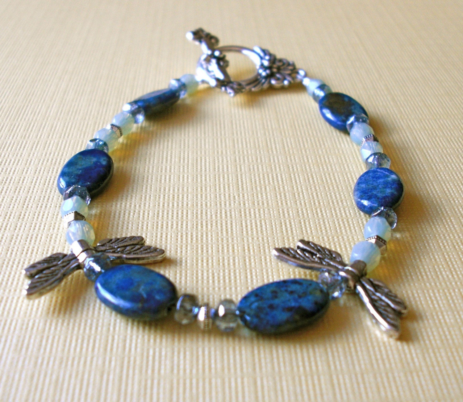 Dragonfly- Lapis Earrings and Bracelet Set by JewelsofSaraswati on Etsy