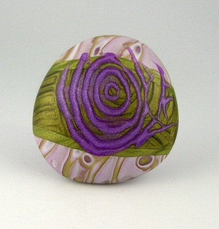 Polymer Clay Cabachon, Lavender, Violet, Green, White