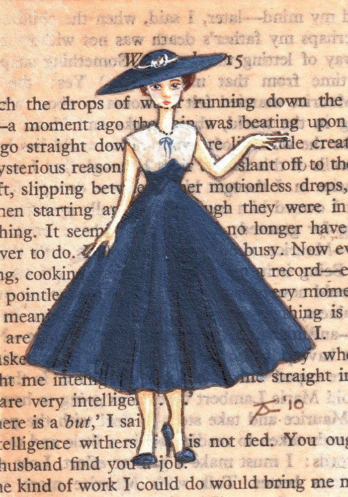 Limited Edition ACEO Print 8 of 20 - Paris, 1954 - Yvette Models The New Steel-Blue Silk Dress and Matching Hat - Pont au Change, Marais