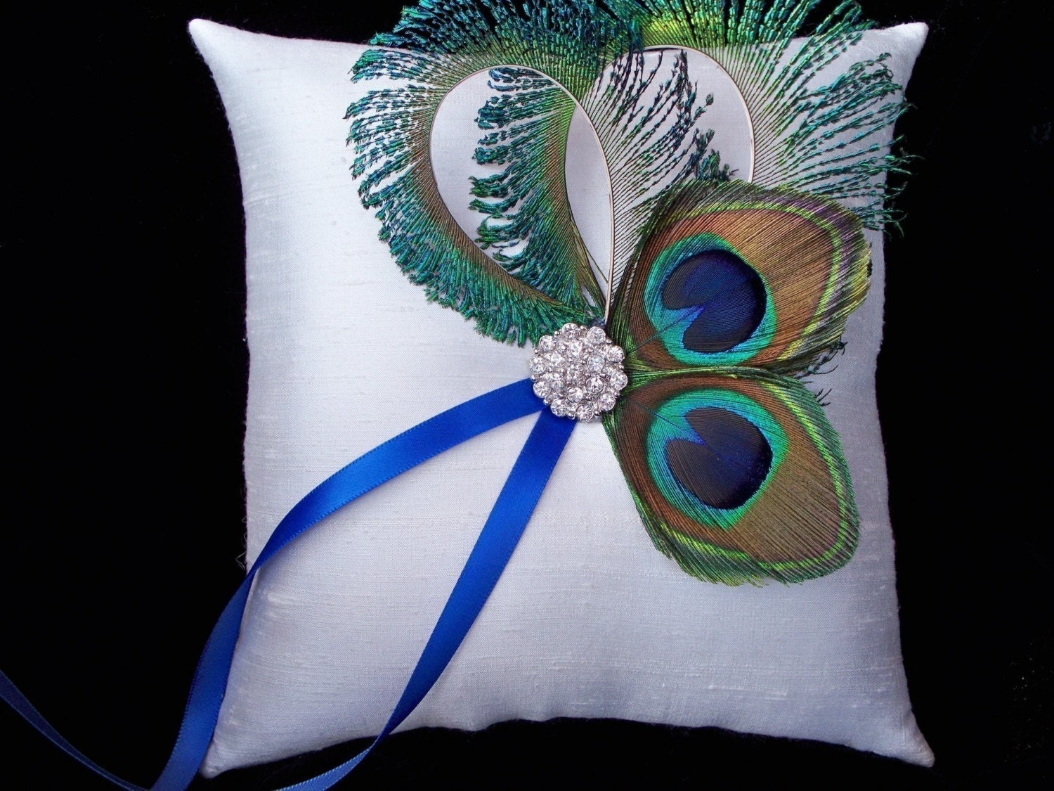 Peacock Feather Ivory Rhinestone Accent Bridal Wedding Ring Bearer Pillow