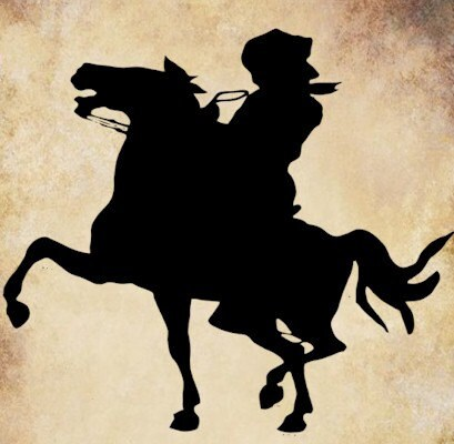 Cowboy on bucking horse silhouette