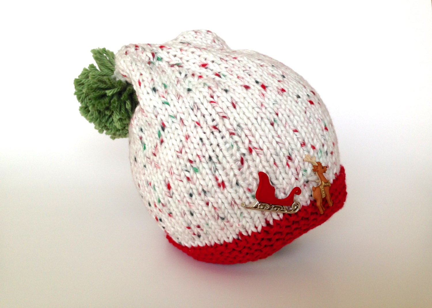 Baby Christmas hat, knitted hat, winter hat, cotton beanie, photo prop - TinyLoveGifts