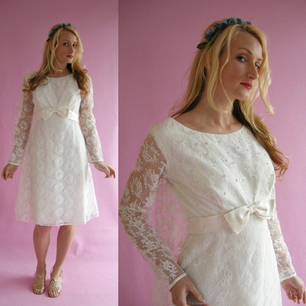 White Lace Tea Length Vintage 60s Wedding Dress L by empressjade