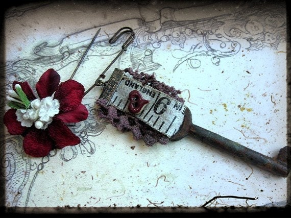 SALE Night the Beloved. Long Assemblage Brooch.