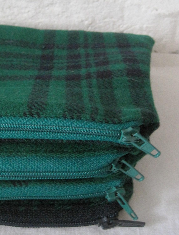 Handmade Recycled Green Kilt Pouch