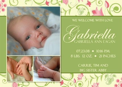 Baby Girl 06 - Photo Birth Announcement